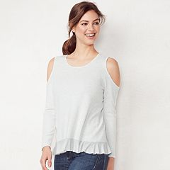 Women's LC Lauren Conrad Weekend Ruffle Cold-Shoulder Sweater