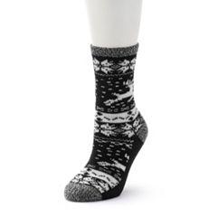 Women's Cuddl Duds Reindeer & Snowflake Fairisle Crew Socks