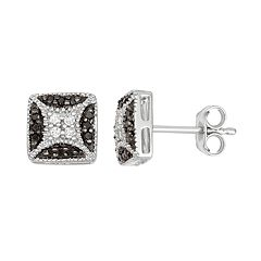 Sterling Silver 1/5 Carat T.W. Black & White Diamond Square Stud Earrings