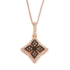 Rose Gold Over Silver White & Brown Diamond Medallion Pendant Necklace