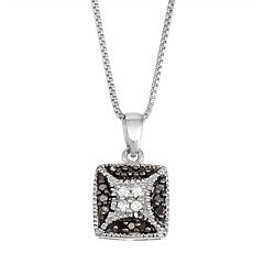 Sterling Silver 1/10 Carat T.W. Black & White Diamond Square Necklace