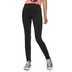 Juniors' Pink Republic High-Waisted Lace-Up Leggings