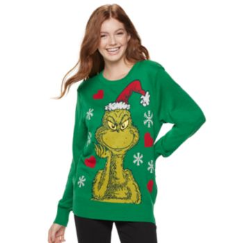 Juniors' Dr. Seuss The Grinch Christmas Sweater