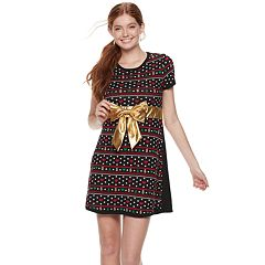 Juniors' Christmas Present Bow Sweater Dress