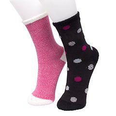 Girls 4-16 Cuddl Duds 2-pack Polka-Dot Crew Socks