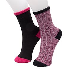 Girls 4-16 Cuddl Duds 2-pack Ribbed Crew Socks