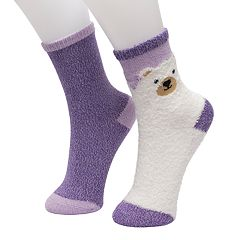 Girls 4-16 Cuddl Duds 2-pack Critter Crew Socks