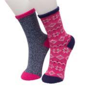 Girls 4-16 Cuddl Duds 2-pack Fairisle Crew Socks