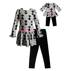 Girls 4-14 Dollie & Me Kitty Cat Dress & Leggings Set & Matching Doll Outfit