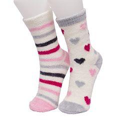 Girls 4-16 Cuddl Duds 2-pack Heart Chenille Crew Socks
