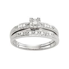 Sterling Silver 1/10 Carat T.W. Diamond Engagement Ring Set
