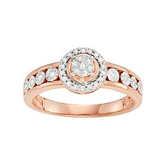 14k Rose Gold Over Silver 1/6 Carat T.W. Diamond Halo Ring