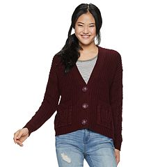 Juniors' Almost Famous Button-Front Cardigan