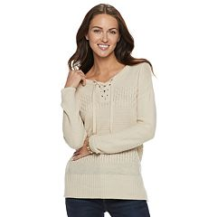 Petite SONOMA Goods for Life™ Cable Knit Lace-Up Sweater