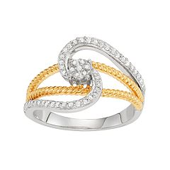 14k Gold Over Silver 1/4 Carat T.W. Diamond Swirl Ring