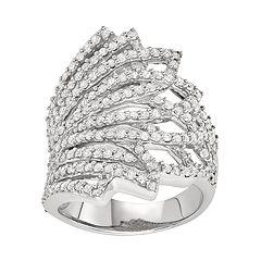 Sterling Silver 1 1/2 Carat T.W. Diamond Fan Ring