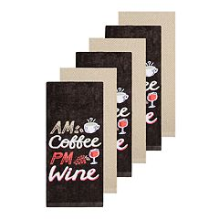 The Big One® 'AM Coffee, PM Wine' Kitchen Towel 6-pack