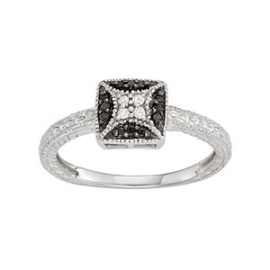Sterling Silver 1/10 Carat T.W. Black & White Diamond Square Ring