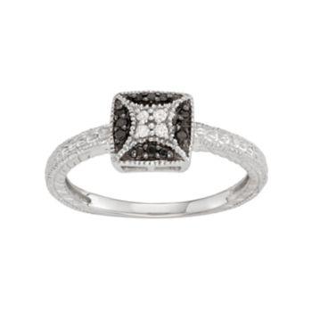 Sterling Silver 1/10 Carat T.W. Black & White Diamond Square Ring