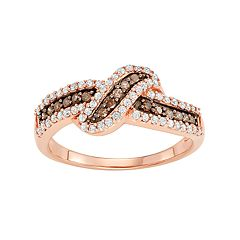 14k Rose Gold Over Silver 1/2 Carat T.W. Brown & White Diamond Ring