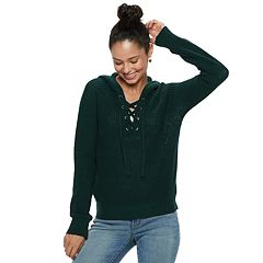 Juniors' Almost Famous Lace-Up Sweater Hoodie