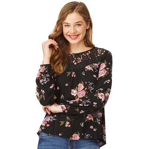 Juniors' Wallflower Lace Floral Top