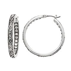 Napier Filigree Textured Hoop Earrings