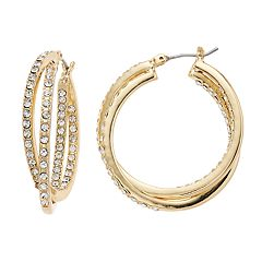 Napier Simulated Crystal Inside-Out Crisscross Hoop Earrings
