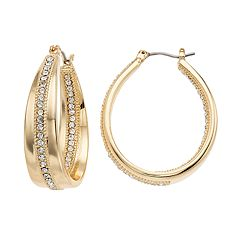 Napier Simulated Crystal Hoop Earrings