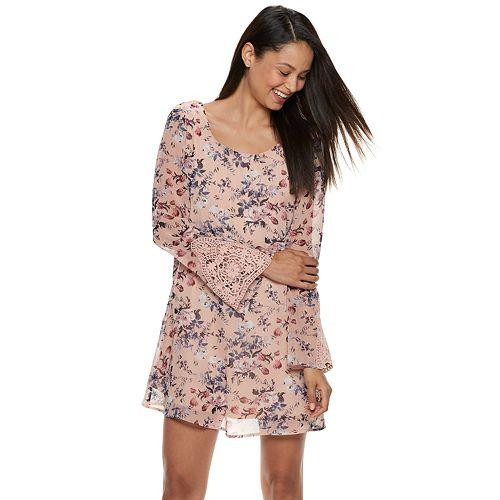 a4ee446aae2 Juniors  Speechless Floral Crochet Bell Sleeve Shift Dress