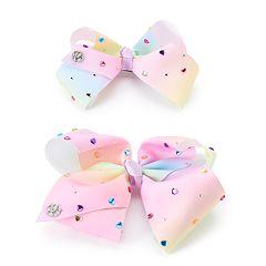 Girls 4-16 JoJo Siwa Rainbow Rhinestone Bow & Doll Bow Set