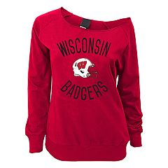 Juniors' Wisconsin Badgers Flashdance Slouch Crewneck