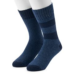 Men's Croft & Barrow® 2-Pack Wool Blend Striped Boot Crew Socks
