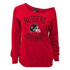 Juniors' Rutgers Scarlet Knights Flashdance Slouch Crewneck