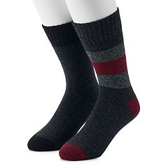 Men's Croft & Barrow® 2-Pack Wool Blend Marl Striped Boot Crew Socks