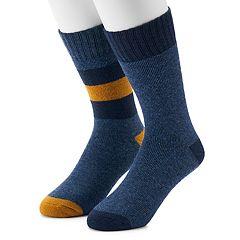 Men's Croft & Barrow® 2-Pack Wool Blend Marl Striped Boot Crew Socks