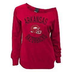 Juniors' Arkansas Razorbacks Flashdance Slouch Crewneck