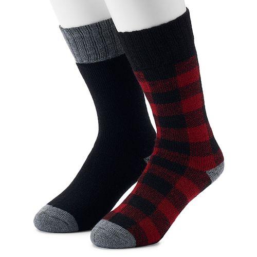 Men's Croft & Barrow® 2-Pack Patterned Boot Crew Socks