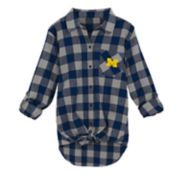 Juniors' Michigan Wolverines Spirit Week Tie-Front Flannel Shirt