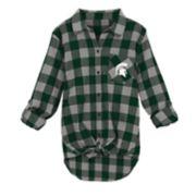 Juniors' Michigan State Spartans Spirit Week Tie-Front Flannel Shirt