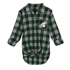 Juniors' Michigan State Spartans Spirit Week Tie-Front Flannel Shirt