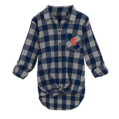 Juniors' Syracuse Orange Spirit Week Tie-Front Flannel Shirt