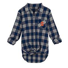 Juniors' Syracuse Orange Spirit Week Tie-Front Flannel Shirt