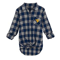 Juniors' West Virginia Mountaineers Spirit Week Tie-Front Flannel Shirt