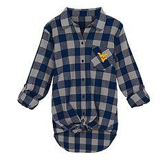 Juniors' West Virginia Mountaineers Spirit Week Tie-Front Flannel Shirt