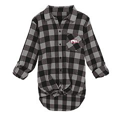 Juniors' Arkansas Razorbacks Spirit Week Tie-Front Flannel Shirt