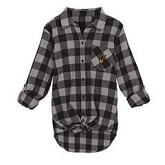 Juniors' Arizona State Sun Devils Spirit Week Tie-Front Flannel Shirt