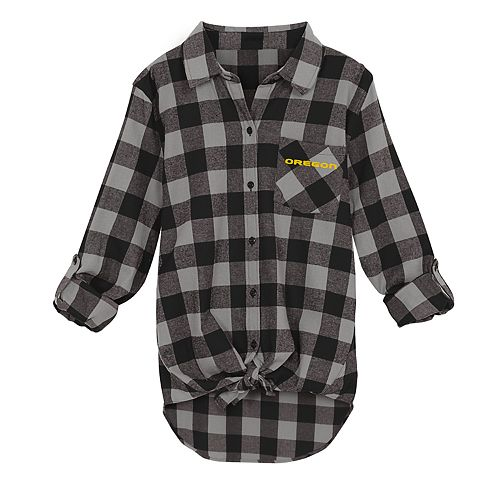 Juniors' Oregon Ducks Spirit Week Tie-Front Flannel Shirt