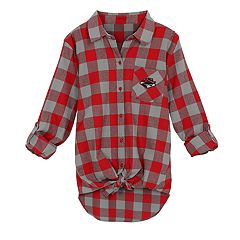 Juniors' UNLV Rebels Spirit Week Tie-Front Flannel Shirt