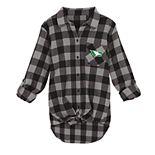 Juniors' North Dakota Fighting Hawks Spirit Week Tie-Front Flannel Shirt